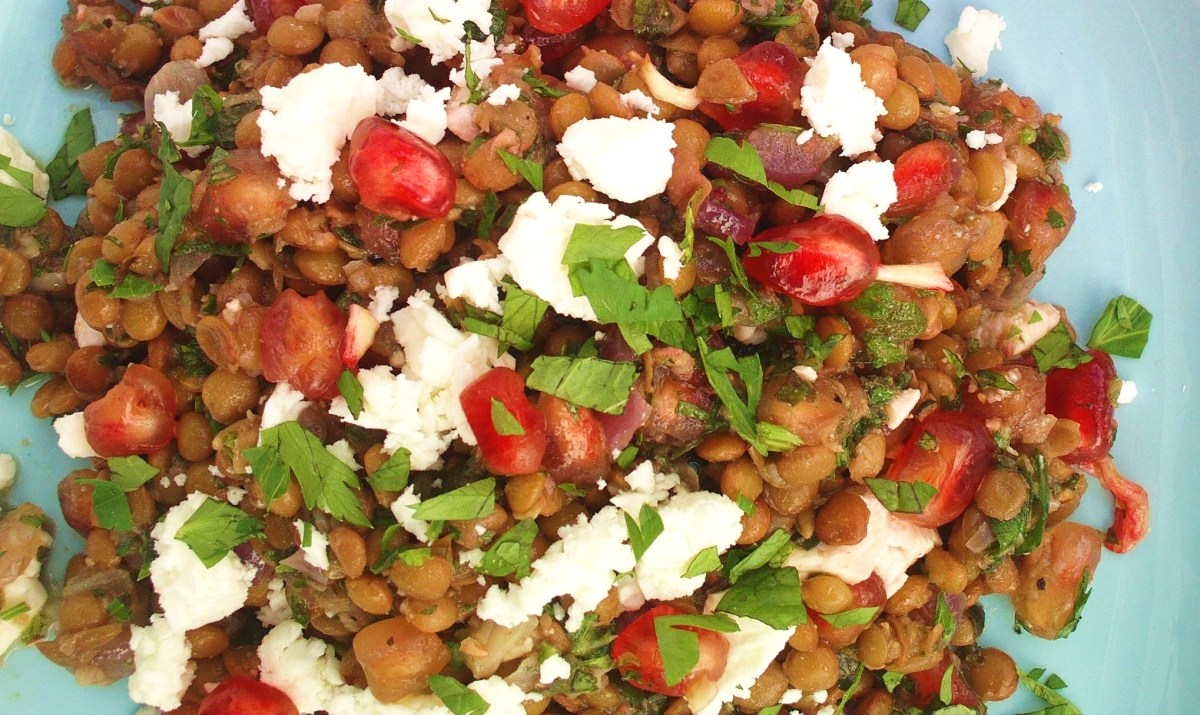 Lebanese Lentil Salad with Pomegranate and Feta
