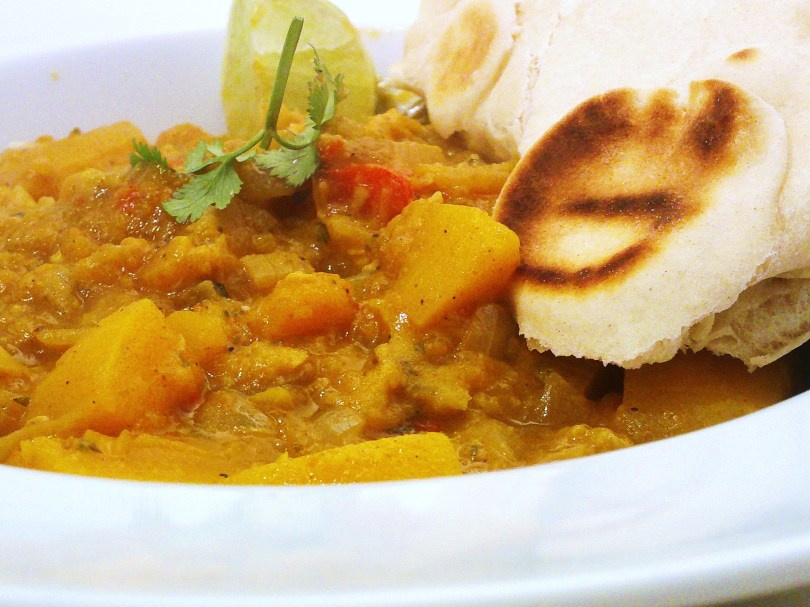 Caribbean Squash & Plantain Curry with Roti