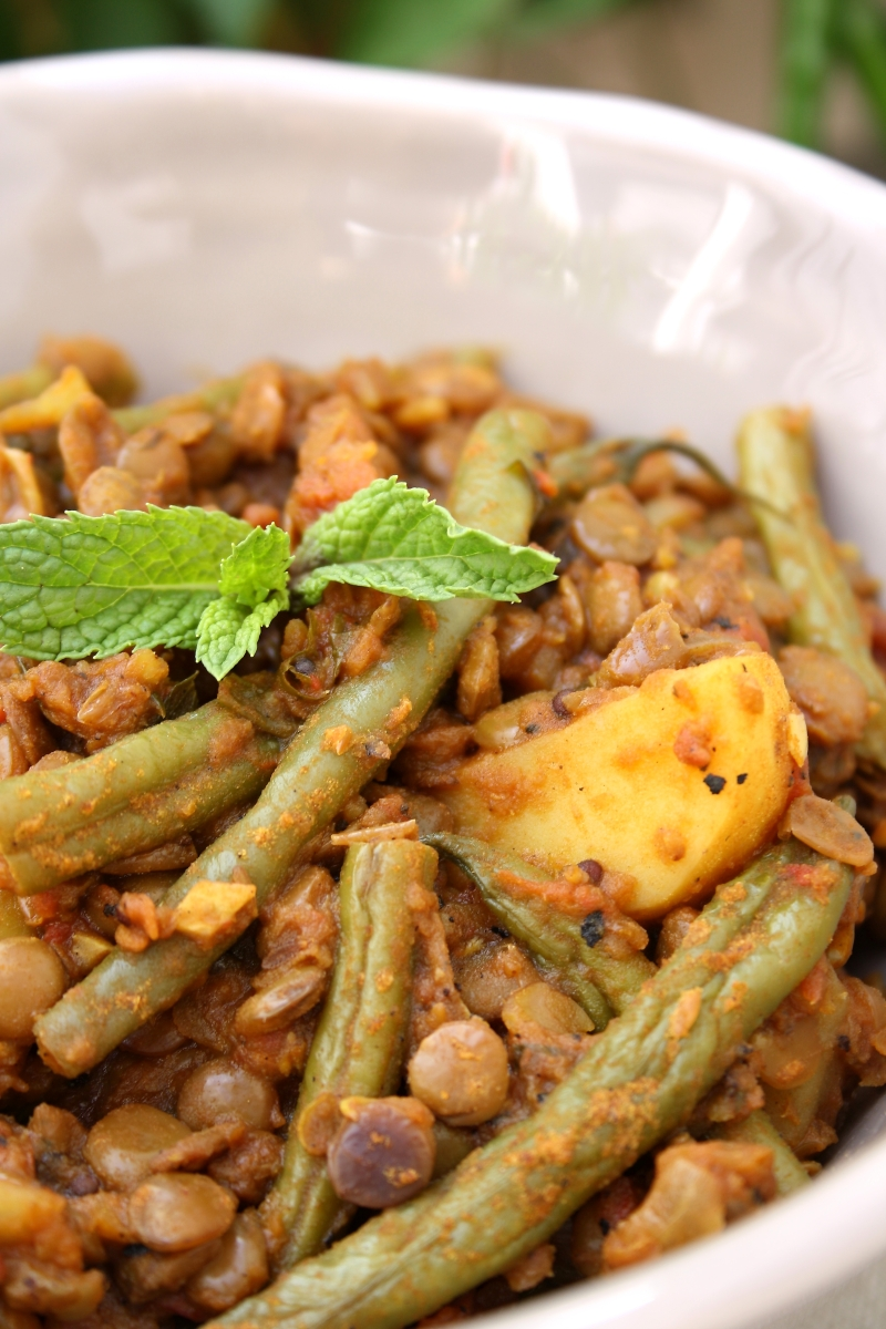 Green Bean, Lentil and Potato Curry with Green Chilli and Mint