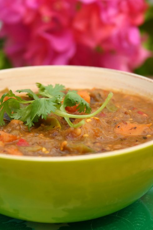 Martinique Sweet Potato Coconut Curry with Aubergine and Pineapple