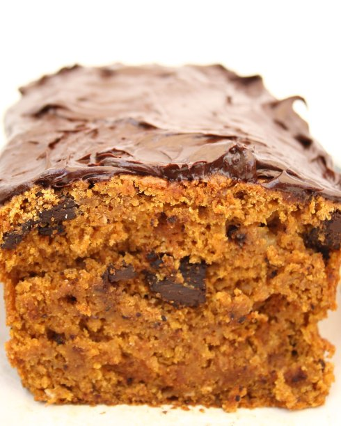 Pumpkin Chocolate Chip Loaf with Chocolate Ganache