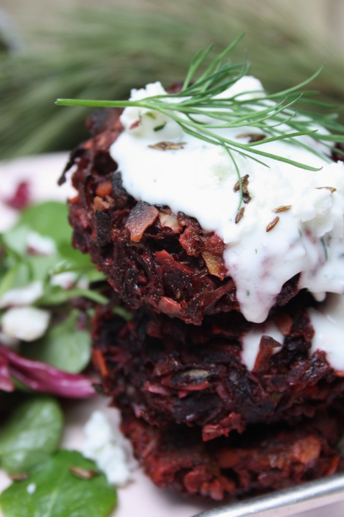 Beetroot Fritters with Horseradish