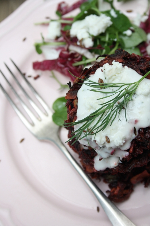 Beetroot Fritters with Dill & Horseradish
