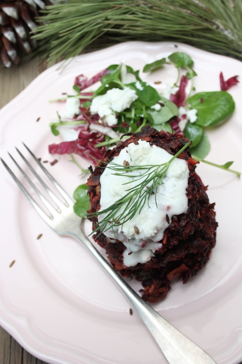 Beetroot Fritters with Horseradish Yoghurt