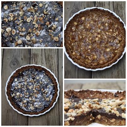 Chocolate date Caramel Hazelnut Tart