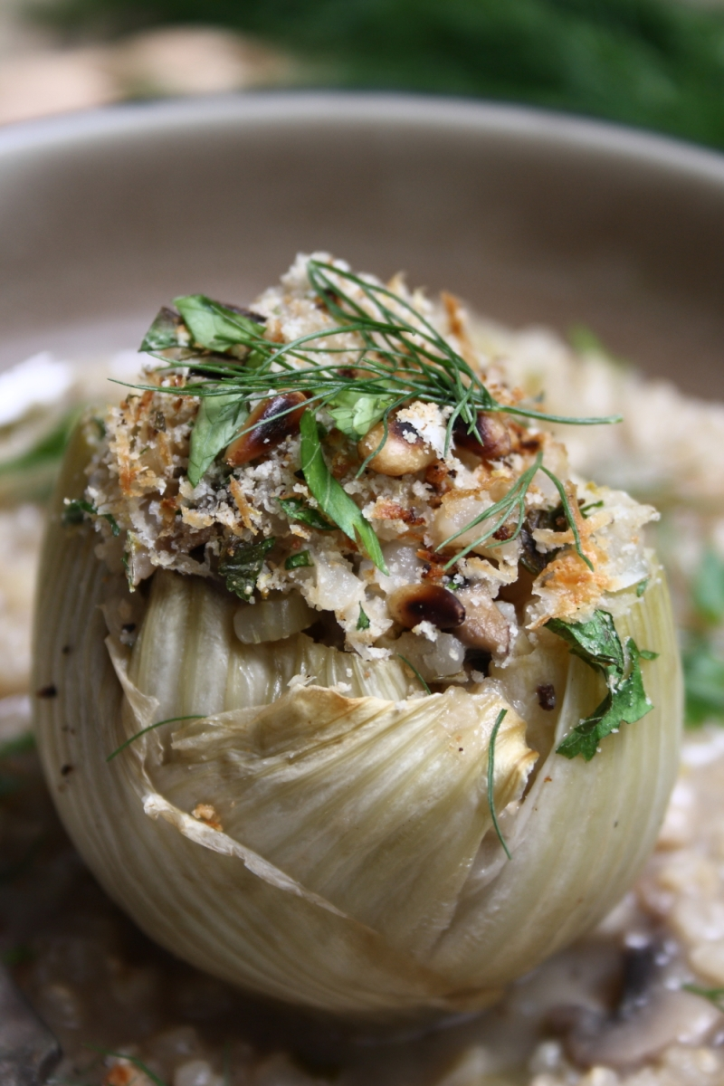 Mushroom Risotto Stuffed Baked Fennel Bulbs with Tomato Sauce