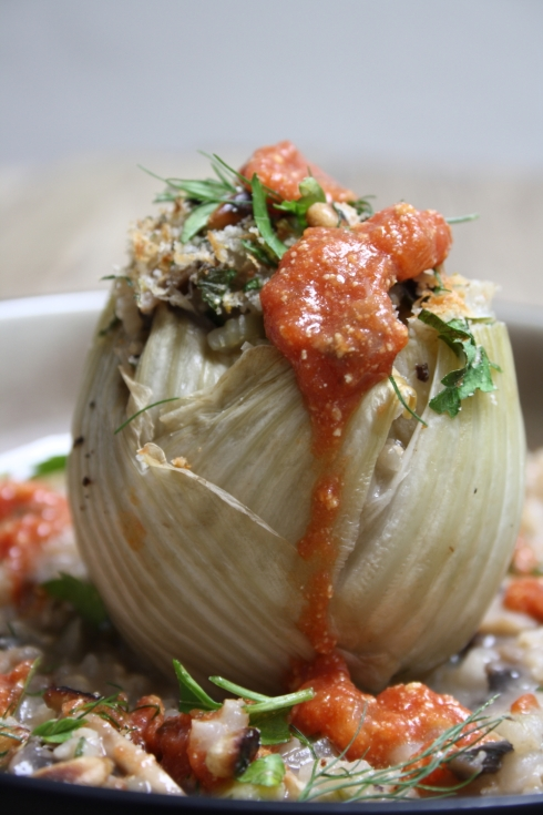 Risotto Stuffed Baked Fennel