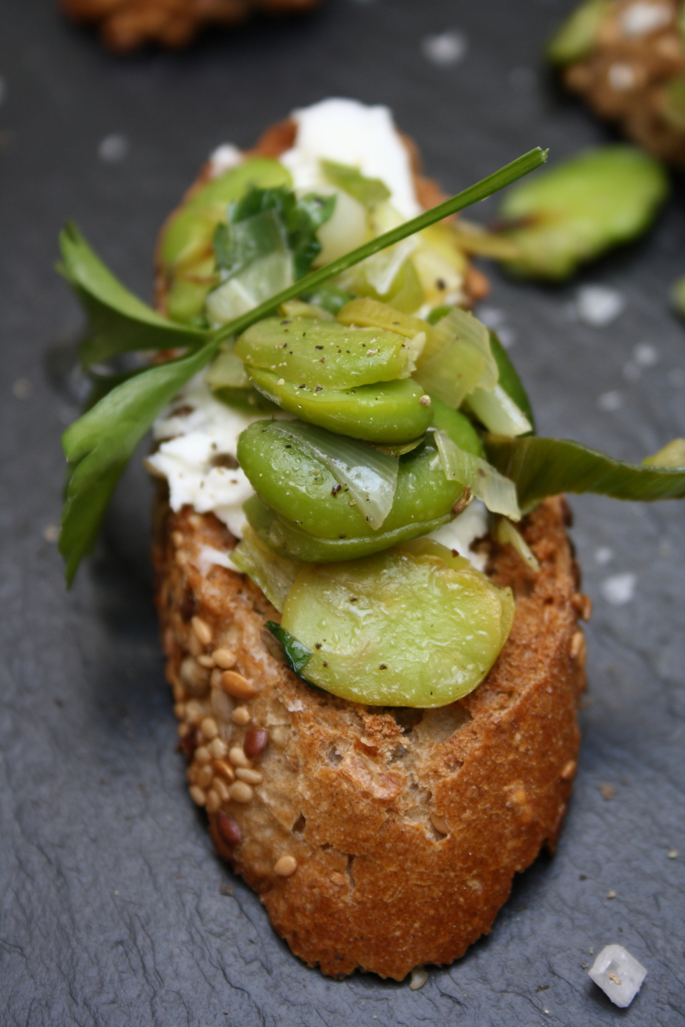 Broad Bean Bruschettas with Goat's Ricotta and Spring Onion