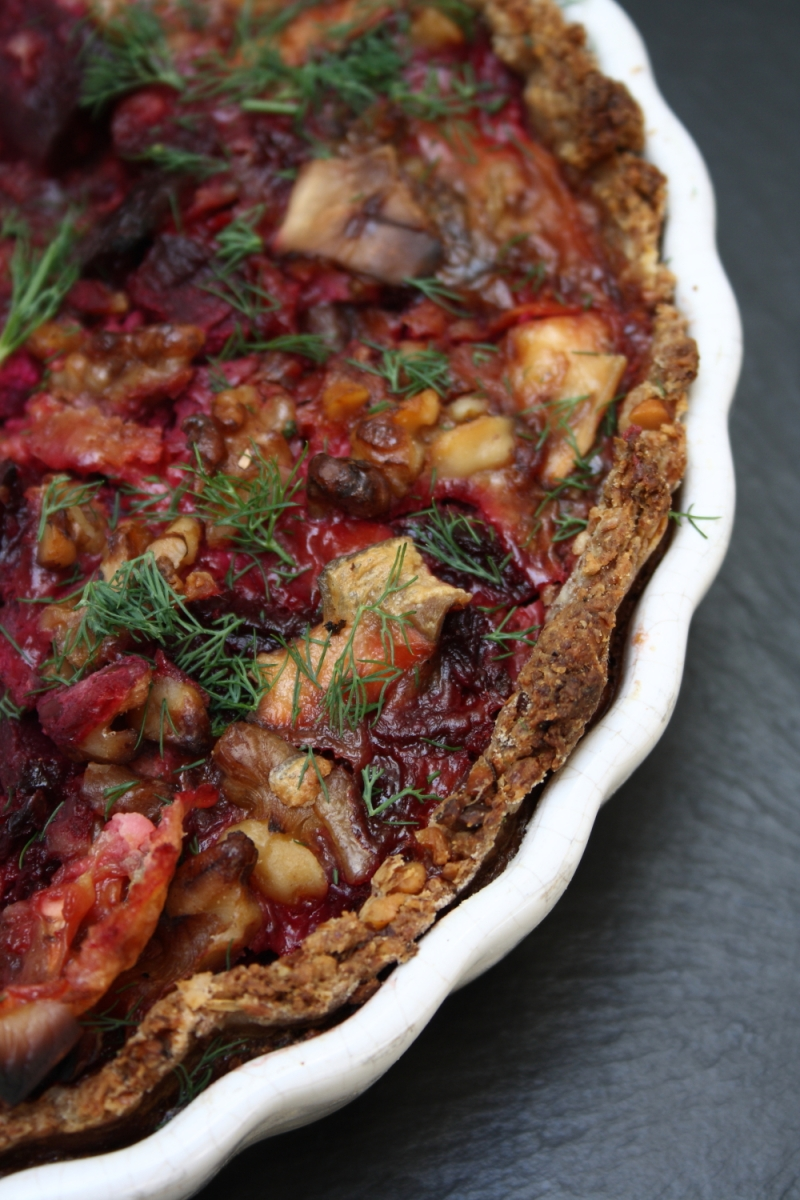 Roasted Beetroot Tart with Goat's Cheese, Walnuts, Oatmeal Crust