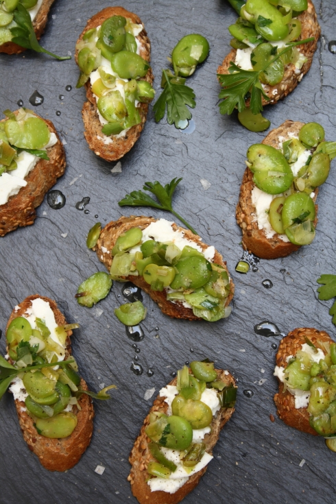 Broad Bean Bruschettas with Goats Ricotta