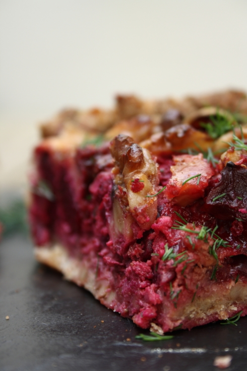 Beetroot Goats Cheese Walnut Tart
