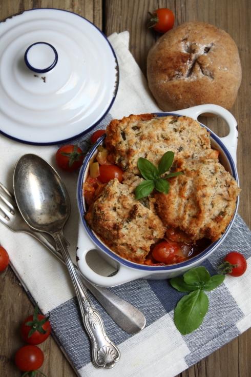 Tomato & Basil Cobbler