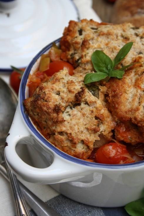 Tomato Basil & Manchego Cobbler