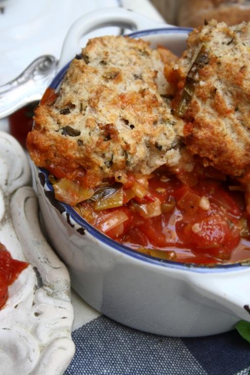 Tomato, Basil & Manchego Cobbler